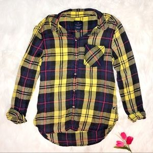 AEO Boyfriend Shirt Women's Small Plaid Yellow Top